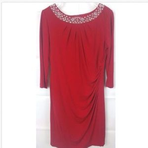 Tahari Arthur Levine Red Rhinestone mini dress 10P